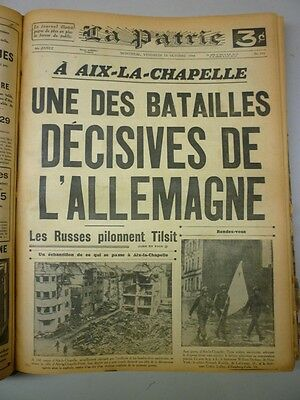 Original Historical Bounded Newspaper Montreal La Patrie September-October 1944