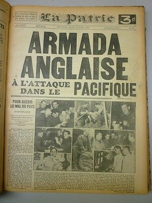 Original Historical Bounded Newspaper Montreal La Patrie March-April 1944
