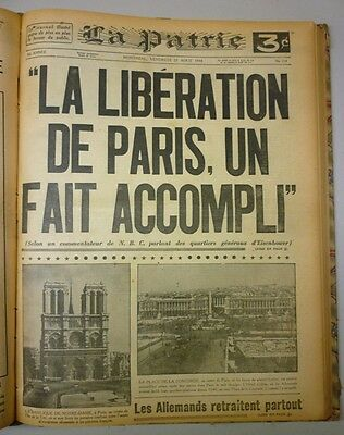 Original Historical Bounded Newspaper Montreal La Patrie July-August 1944