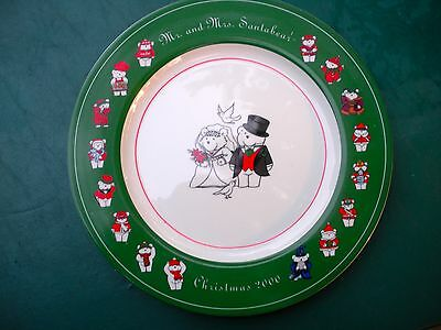 """Mr. & Mrs. SANTABEAR, BRIDE & GROOM Charger Plate  - Christmas, 2000 -12"""" Inches"""