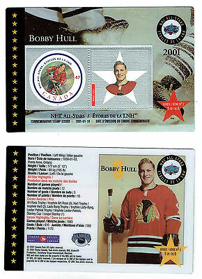 2001 Canada Post NHL All-Stars, Blackhawks' Bobby Hull Laminated Stamp Card