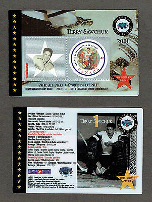 2001 Canada Post NHL All-Stars, Red Wings Terry Sawchuk Laminated Stamp Card