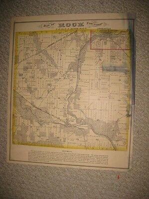 Rare Antique 1873 Rock Township Janesville Afton Rock County Wisconsin Map Rare