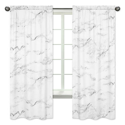 Window Treatment Panels for Sweet Jojo Designs Black and White Marble Bedding