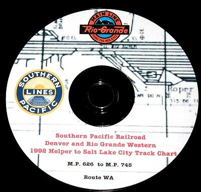 Southern Pacific 1992 (D&RGW) Helper to Salt Lake City Track Chart Pages on DVD