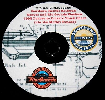 Southern Pacific 1992 (D&RGW) Denver to Dotsero Track Chart Pages on DVD