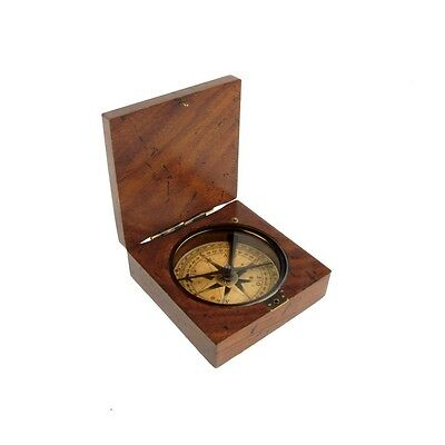 Vintage/Antique Style Old Wood Box Directional Navigational Travel Compass Tool