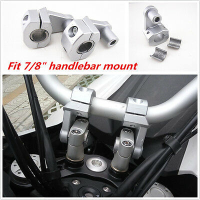 "7/8"" 22mm Motorcycle HandleBar Handle Fat Bar Mount Clamps Riser CNC Aluminum"