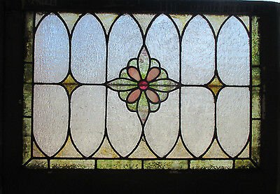 ~ Antique American Stained Glass Window 30 X 21 Architectural Salvage ~