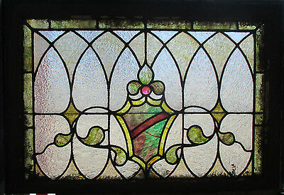~ Antique American Stained Glass Window 30 X 20 Architectural Salvage ~