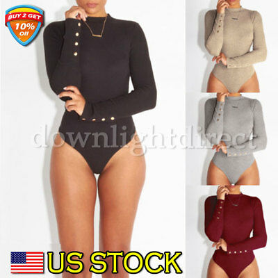 Women Lady Long Sleeve Shirt Romper Jumpsuit Bodysuit Stretch Leotard Top Blouse