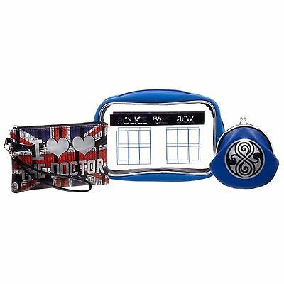 Doctor Who Jrs 3 Piece Gift Set - Make Up Case, Zippered Wristlet, Coin Purse
