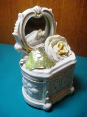 "RARE 4.5"" VANITY FAIRING BOX porcelain hand painted rose antique vintage GERMANY"