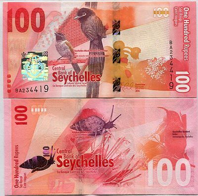 Seychelles 100 Rupees Nd 2016 P New Design Au-Unc