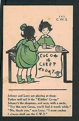 C.w.s. ( Co-Op) Cocoa Is Cheap.  Old Advert Postcard. Original