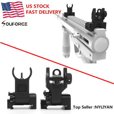 US Flip up Front&Rear Iron Sight Set Rapid Transition A2 Mil Spec Low Profile
