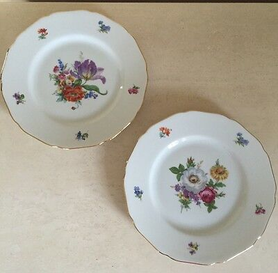 """Hutschenreuther vintage set of Two Dinner Plates - floral and gold 9.75"""""""