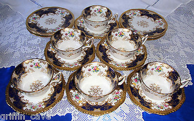Set Of Six Antique COALPORT BATWING Cabinet Cups And Saucer  Hand Painted