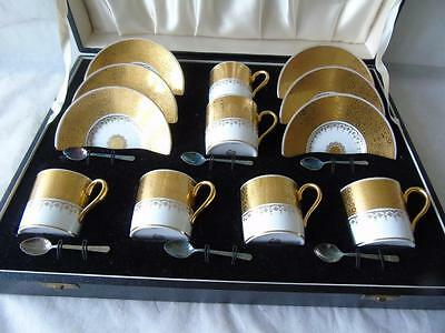 Cased Set of Minton T. Goode G8860 Demitasse Coffee Cans Saucers & Silver Spoons