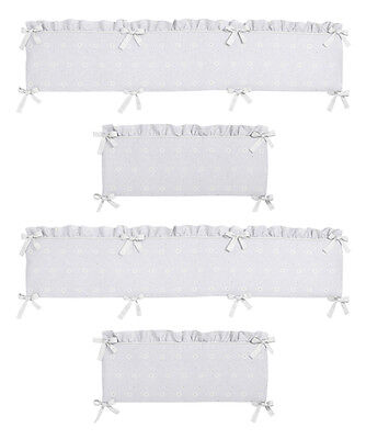 Luxury White Eyelet Affordable Baby For Girl Nursery 4 Piece Crib Bumper Pad