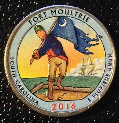 2016 Colorized Fort Moultrie (South Carolina) America The Beautiful Quarter