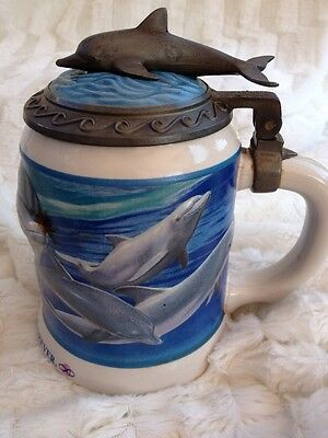 """Anheuser Busch Sea World Beer Stein Mug Dolphins """"Extinction is Forever"""" Lid"""