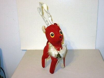 "Big 17"" Vtg 60's Japan Christmas Red White Velvet Sawdust Stuffed Reindeer bell"