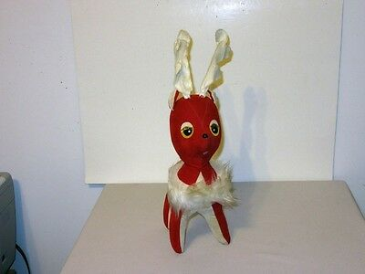 "Big 17"" Vtg 60's Japan Christmas Red White Velvet Sawdust Stuffed Reindeer"
