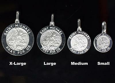New Sterling Silver 925 Saint Michael Medal Charm Pendant Round All Sizes Italy
