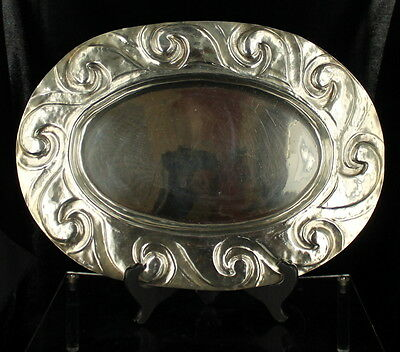 Vintage Mid Century Silverplate Large Oval Serving Tray Swirls Valenti Spain