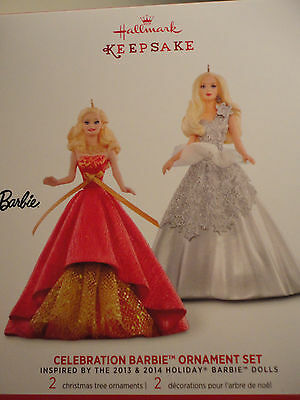 2015 Hallmark Ornament Celebration Barbie Set of two 2 inspired by holiday NEW