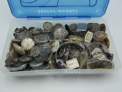 Lot of 150+ watch movements for parts or repair Mechanical automatic Quartz WWII