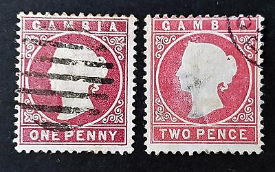 Gambia 1880 Sc # 6 Sc # 7 Used Hinged Stamps Collection