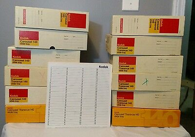 Lot of 12 Kodak Carousel Projector Transvue 140 Slide Trays Boxed w/ Index Cards