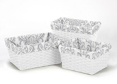 Sweet Jojo Designs Grey White Damask Baby Kid Organizer Storage Bin Basket Liner