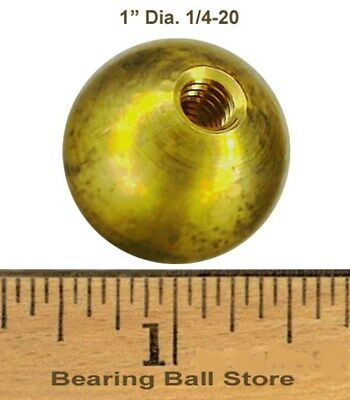 """Two 1"""" threaded 1/4-20 brass balls drilled tapped"""