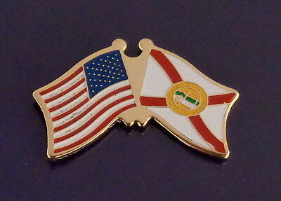 Florida State Flag & US Untied States Flags Crossed Lapel Pin USA FL Fla