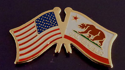 California State Flag & US Untied States Flags Crossed Lapel Pin USA CA Calif