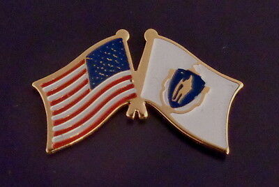 Massachusetts State Flag & US Untied States Flags Crossed Lapel Pin USA MA Mass.