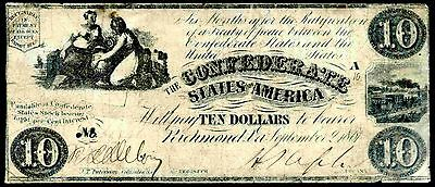 Confederate States, Ten Dollars, plate A10. September 2, 1861, Nearly Fine .