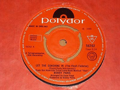 """Bobby Paris """"Let The Sunshine In"""" Polydor 45"""