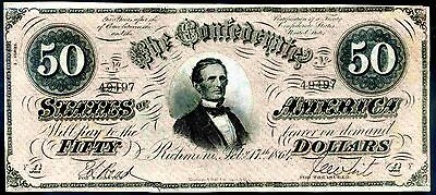 Confederate States, Fifty Dollars, 49497. February 17, 1864, VF-EF.