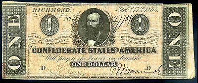 Confederate States, One Dollar, 27751. February 17, 1864, Fine.