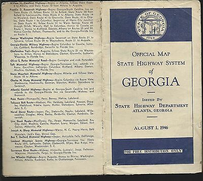 1946 Georgia State Highway System Map Very Rare