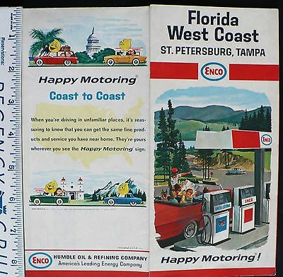 1966 Humble Oil ENCO Road Map Florida West Coast St. Petersburg Tampa Oil Drop