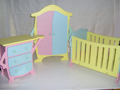 3 pc Tolly Tots Doll Furniture Set: crib, wardrobe, and chest of drawers
