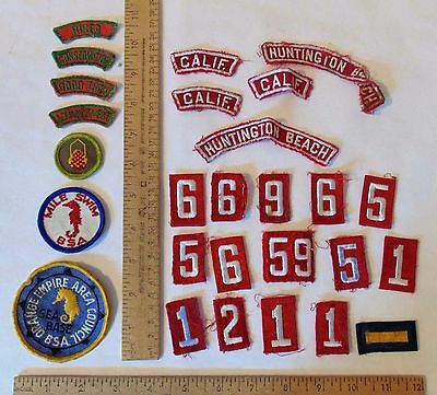 Various BOY SCOUTS OF AMERICA - PATCHES / NUMBERS / HUNTINGTON BEACH / CALIF