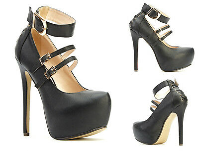 Ladies Black Platform High Heels Twin Buckle Ankle Straps Pumps Shoes 3-8