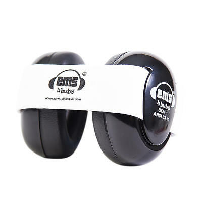 Em's 4 Bubs Kids Hearing Protection Baby Earmuffs for 0-18 Months ~ Black/White