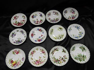 Royal Albert Flowers Of The Month Series Set Of 12 Saucers